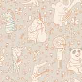 Funny animals musicians in vintage style. Bear, leopard, lion, elk, crocodile, elephant and zebra. Seamless pattern can be used for wallpaper, pattern fills, web page backgrounds, surface textures. — Stock Vector