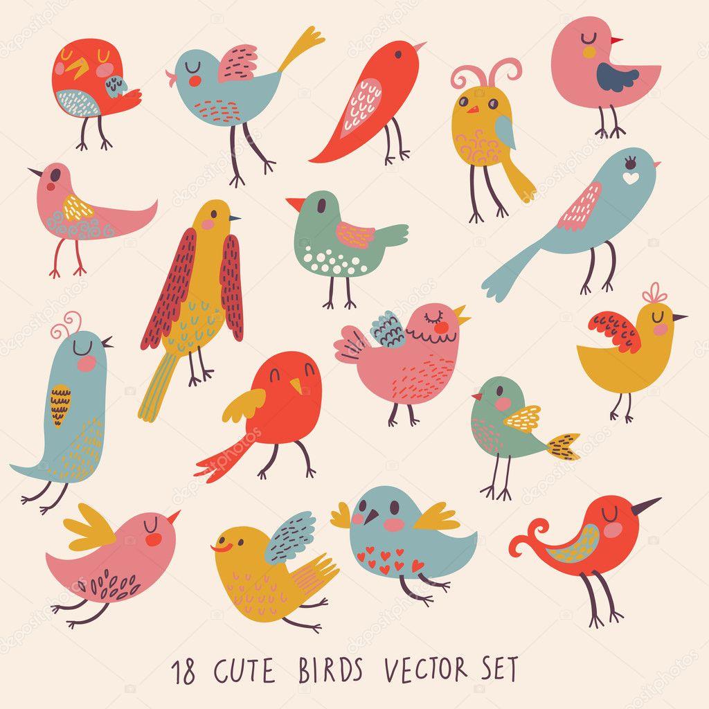 lindos pájaros en vector. conjunto de dibujos animados - Ilustración