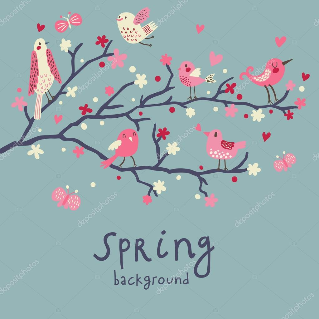 Spring Background Stylish Illustration In Vector Cute Birds On Branches Light Romantic Card
