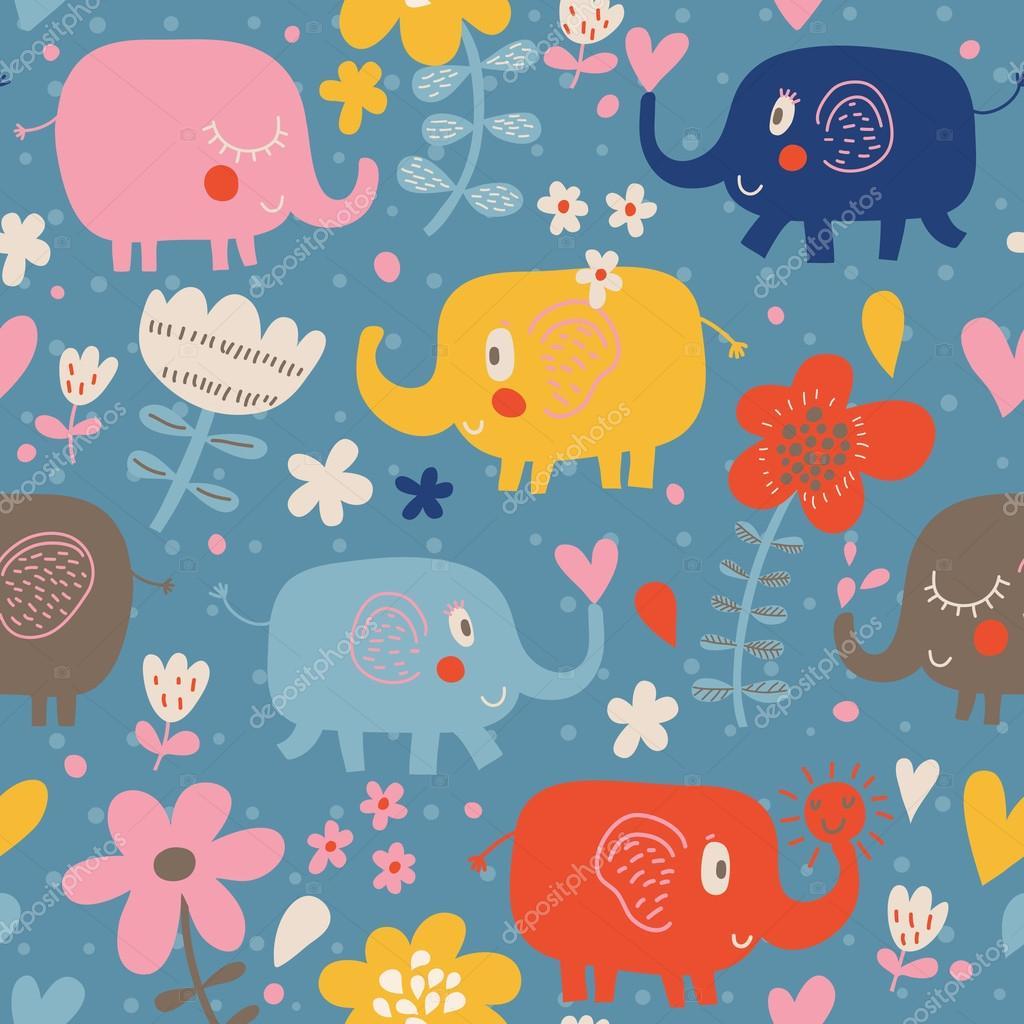 Cartone animato divertenti elefanti infantili in fiori