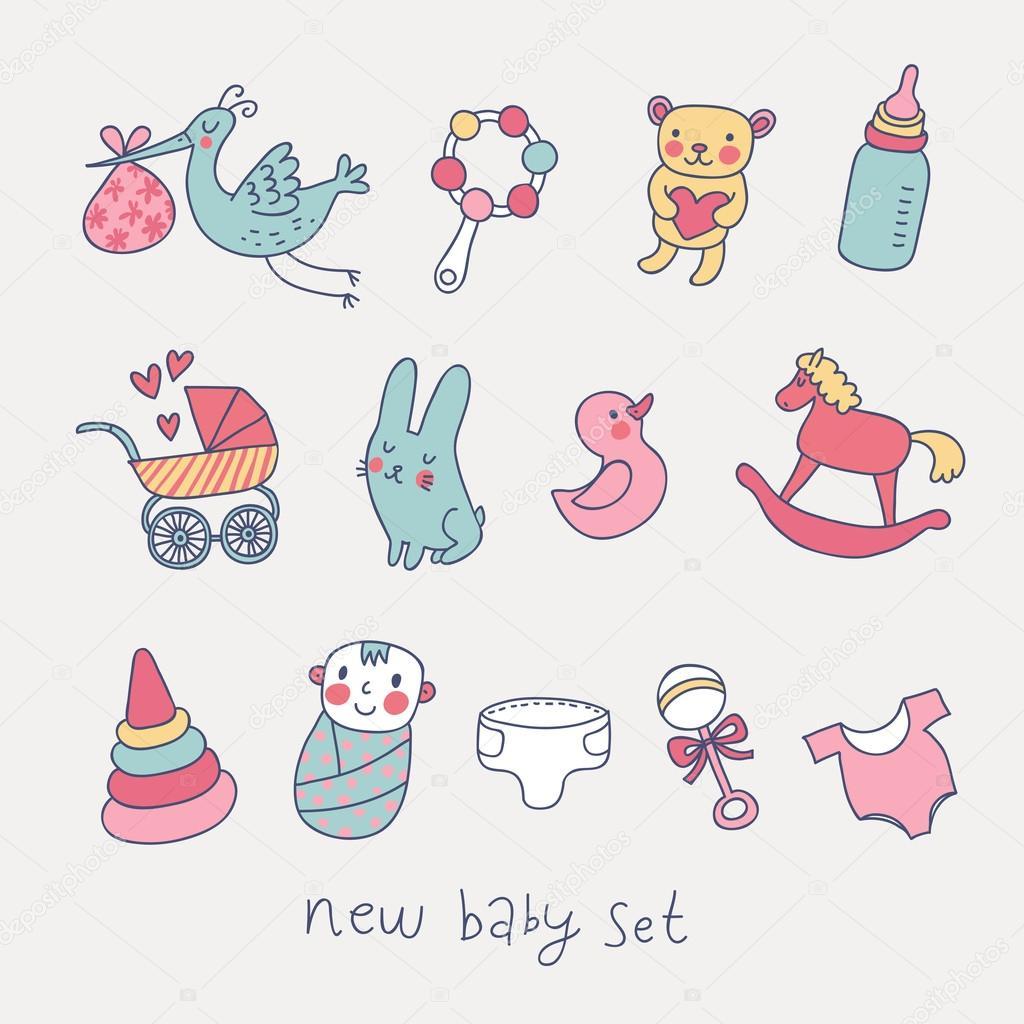 可爱卡通宝宝套.玩具, 马车, 婴儿, 鹳搞笑矢量集