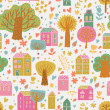 Romantic town in vector. Cute cartoon houses and trees. Seamless pattern can be used for wallpapers, pattern fills, web page backgrounds, surface textures. — Stock vektor