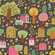 Romantic town in vector. Cute cartoon houses and trees. Seamless pattern can be used for wallpapers, pattern fills, web page backgrounds, surface textures. — Stock Vector #25066175