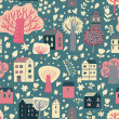 Romantic town in vector. Cute cartoon houses and trees. Seamless pattern can be used for wallpapers, pattern fills, web page backgrounds, surface textures. — Vettoriali Stock
