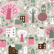 Romantic town in vector. Cute cartoon houses and trees. Seamless pattern can be used for wallpapers, pattern fills, web page backgrounds, surface textures. — Stock Vector