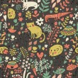 Funny animals in flowers. Cartoon seamless pattern for childish designs. Hamster, cat, dog, turtle. Seamless pattern can be used for wallpaper, pattern fills, web page background, surface textures. - Stock Vector