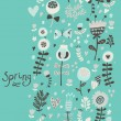 Spring seamless pattern. Bright flowers and butterfly on romantic wallpaper. Seamless pattern can be used for wallpaper, pattern fills, web page background, surface textures. — Stock Vector