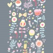 Royalty-Free Stock Vektorgrafik: Cartoon floral seamless pattern. Spring background in pastel colors. Seamless pattern can be used for wallpaper, pattern fills, web page background,surface textures.