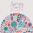 Floral background with colorful flowers. Spring card in vector - Stock Vector