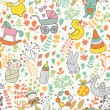 Childhood concept seamless pattern. Toys, animals, childish elements in vector. Cartoon background. Can be used for wallpaper, pattern fills, web page background,surface textures. — Stockvektor