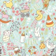 Childhood concept seamless pattern. Toys, animals, childish elements in vector. Cartoon background. Can be used for wallpaper, pattern fills, web page background,surface textures. — Vector de stock