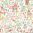Childhood concept seamless pattern. Toys, animals, childish elements in vector. Cartoon background. Can be used for wallpaper, pattern fills, web page background,surface textures. — Stock Vector #25066293