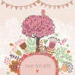 Love tree concept illustration. Cartoon floral background in vector made if flowers, tree, hearts and bird. Romantic floral wallpaper - Stockvektor