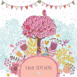 Love tree concept illustration. Cartoon floral background in vector made if flowers, tree, hearts and bird. Romantic floral wallpaper — Stock Vector
