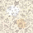 Tattoo concept seamless pattern. Tattoo elements: skull, knife, bird, heart, anchor and others in cartoon style in vector. Can be used for wallpapers, fills, web page background, surface textures - Stock Vector