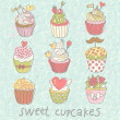 Sweet cupcakes vector set. Cartoon tasty cupcakes in pastel colors — Stock Vector