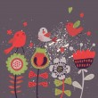 Cute cartoon birds on flowers. Bright floral background in vector. Childish vintage elements — Imagens vectoriais em stock