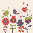 Cute cartoon birds on flowers. Bright floral background in vector. Childish vintage elements — Stock Vector