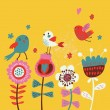Cute cartoon birds on flowers. Bright floral background in vector. Childish vintage elements — Stock Vector #25066569