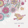 Colorful vintage background. Pastel colored floral wallpaper with bird and butterflies. Cartoon romantic card in vector - Stock Vector