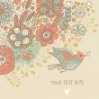 Royalty-Free Stock Vector Image: Colorful vintage background. Pastel colored floral wallpaper with bird and butterflies. Cartoon romantic card in vector