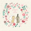 Cartoon wedding invitation. Romantic floral card with funny cats groom and bride. Vector wallpaper made of flowers. Ideal for wedding cards and Save the Date invitations. — Stock Vector