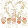 Cute wedding invitation. Couple in love on tasty cupcakes with heart made of flowers. Romantic background in cartoon style. Ideal for wedding cards and Save the Date invitations — Grafika wektorowa