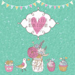 Vintage save the date card in vector. Cute wedding invitation with bird, cupcakes and bouquet — Vektorgrafik
