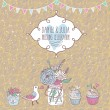 Vintage save the date card in vector. Cute wedding invitation with bird, cupcakes and bouquet - Stock Vector