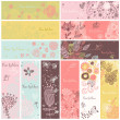 Floral banners in vector set. 12 floral cards. Summer, spring and autumn concept banners — Image vectorielle