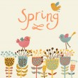 Spring flowers and birds. Cartoon floral background in vector. Spring concept card in bright colors — Stock Vector