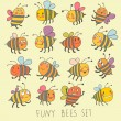 Funny bees set in vector. Cartoon funny bees in bright colors. Childish spring icons — Stock Vector #25067203