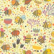 Bright spring seamless pattern Bees and flowers. Seamless pattern can be used for wallpaper, pattern fills, web page backgrounds, surface textures. Gorgeous seamless floral background — Imagens vectoriais em stock