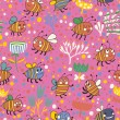 Bright spring seamless pattern Bees and flowers. Seamless pattern can be used for wallpaper, pattern fills, web page backgrounds, surface textures. Gorgeous seamless floral background — Vecteur #25067239