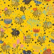 Bright spring seamless pattern Bees and flowers. Seamless pattern can be used for wallpaper, pattern fills, web page backgrounds, surface textures. Gorgeous seamless floral background — 图库矢量图片