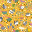 Bright spring seamless pattern Bees and flowers. Seamless pattern can be used for wallpaper, pattern fills, web page backgrounds, surface textures. Gorgeous seamless floral background — ストックベクタ #25067257