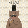 Mr bear. Cute cartoon bear in classical style with top hat, smoking pipe, bow-tie and nice mustache. Vector cartoon character on vintage seamless pattern - Stock Vector