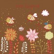 Childish vector background. Bees and flowers in modern colors — Image vectorielle