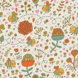 Royalty-Free Stock Vector Image: Bees in cartoon flowers. Seamless pattern can be used for wallpaper, pattern fills, web page backgrounds, surface textures. Gorgeous seamless floral background