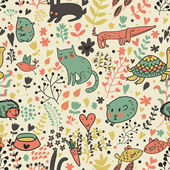 Funny animals in flowers. Cartoon seamless pattern for childish designs. Hamster, cat, dog, turtle. Seamless pattern can be used for wallpaper, pattern fills, web page background, surface textures. — Stock Vector