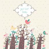 Stijlvolle vintage floral achtergrond met vogels en textbox. ideaal voor lichte bruiloft uitnodiging. vector abstracte achtergrond — Stockvector