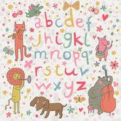 Alfabeto brilhante com músicos de animais bonito dos desenhos animados. leopardo de letras e animais dos desenhos animados, rosa, urso, cão, leão em vetor — Vetor de Stock