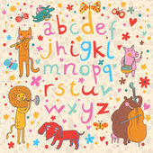 Alfabeto brilhante com músicos de animais bonito dos desenhos animados. leopardo de letras e animais dos desenhos animados, rosa, urso, cão, leão em vetor — Vetorial Stock