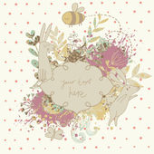 Vintage floral wedding invitation with cute rabbits. Nice vector card. Ideal for any types of invitation in retro style. — Stock Vector