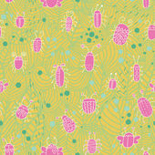 Vintage spring seamless pattern. Bugs in leafs cartoon background. Seamless pattern can be used for wallpaper, pattern fills, web page background,surface textures. — Stock Vector