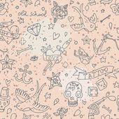 Tattoo concept seamless pattern. Tattoo elements: skull, knife, bird, heart, anchor and others in cartoon style in vector. Can be used for wallpapers, fills, web page background, surface textures — Cтоковый вектор