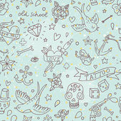 Tattoo concept seamless pattern. Tattoo elements: skull, knife, bird, heart, anchor and others in cartoon style in vector. Can be used for wallpapers, fills, web page background, surface textures — Vettoriale Stock