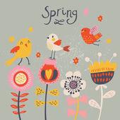 Oiseaux mignon dessin animé sur les fleurs. fond floral lumineux en vecteur. éléments vintage enfantins — Vecteur