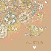 Barevné pozadí na vinobraní. pastelově barevné květinové tapety s ptáků a motýlů. kreslený romantické karta ve vektoru — Stock vektor