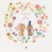 結婚式招待状を漫画します。面白い猫の新郎と新婦とロマンチックな花カード。ベクトルの壁紙の花から成っています。結婚式のカードや日付の招待状を保存に最適です。. — ストックベクタ